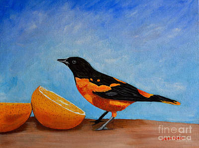 Art Print featuring the painting The Bird And Orange by Laura Forde