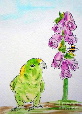 Cawing Painting - The Bird And The Bee by Rita Drolet