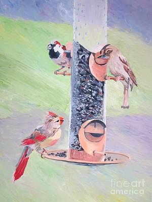 The Bird Feeder Art Print by Stella Sherman