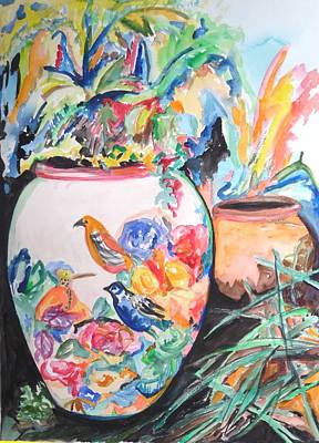 Painting - The Bird Flower Pot by Esther Newman-Cohen