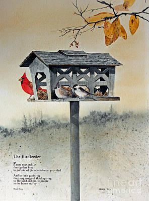 Titmouse Painting - The Birdfeeder by Monte Toon