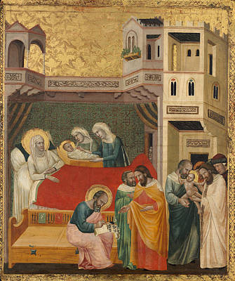 Circumcision Painting - The Birth Naming And Circumcision Of Saint John The Baptist by Giovanni Baronzio