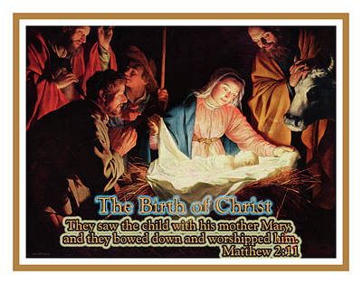 Manger Mixed Media - The Birth Of Christ by John H Parker