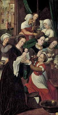Jesus Art Painting - The Birth Of The Virgin by Ambrosius Benson