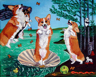 Satire Wall Art - Painting - The Birth Of Venus -  Pembroke Welsh Corgi by Lyn Cook