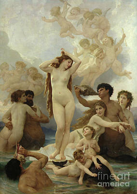 Naked Painting - The Birth Of Venus by William-Adolphe Bouguereau