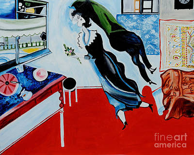 Marc Chagall Painting - The Birthday - Tribute To Marc Chagall by Art by Danielle