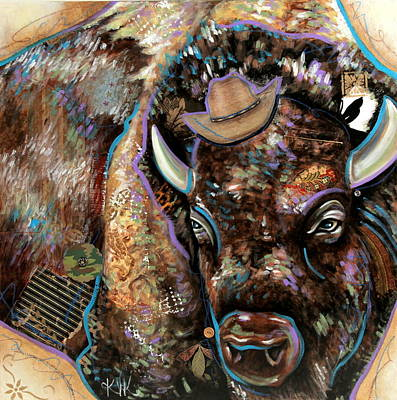 Mixed Media - The Bison by Katia Von Kral