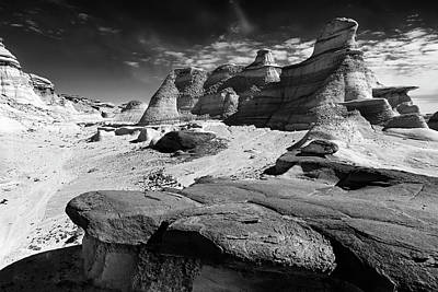 The Bisti Badlands - New Mexico - Black And White Art Print by Jason Politte