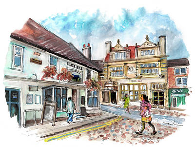 Bulls Painting - The Black Bull In Thirsk by Miki De Goodaboom