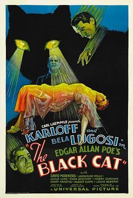 Horror Fantasy Movies Photograph - The Black Cat, Boris Karloff, Harry by Everett