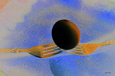 Mixed Media - The Black Egg And Golden Forks by Lesa Fine