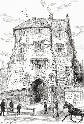 Medieval Entrance Drawing - The Black Gate, The Fortified Gatehouse by Vintage Design Pics
