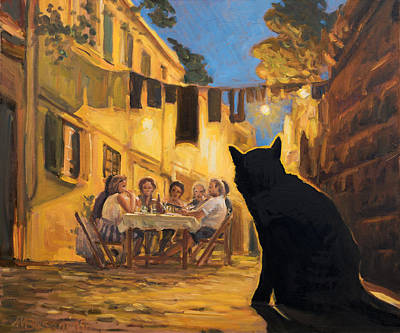 The Black Hunger Waiting For Left-overs Art Print by Marco Busoni