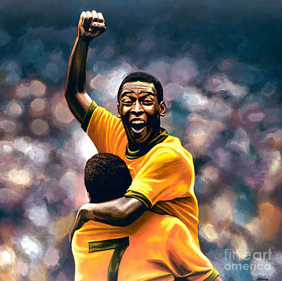 Soccer Painting - The Black Pearl Pele  by Paul Meijering