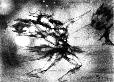 Drawing - The Black Swan by Parag Pendharkar