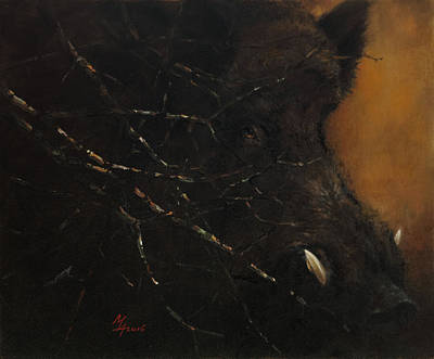 Painting - The Black Wildboar by Attila Meszlenyi