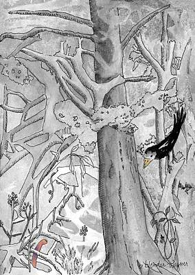 Bird And Worm Fantasy Mixed Media - The Blackbird And The Worm by Arline Wagner