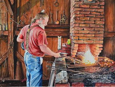 Antique Ironwork Painting - The Blacksmith by Gina Croce