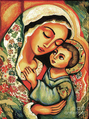 Blissful Painting - The Blessed Mother by Eva Campbell