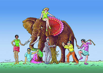 Drawing - The Blind And The Elephant by Anthony Mwangi