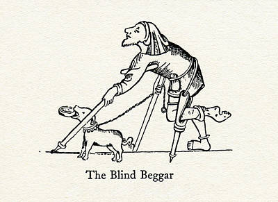 Crutch Drawing - The Blind Beggar After A Medieval by Vintage Design Pics