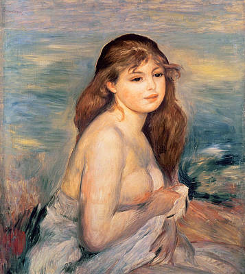 The Blonde Bather Art Print by Pierre Auguste Renoir