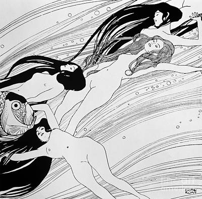 Klimt Drawing - The Blood Of Fish by Gustav Klimt