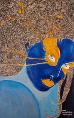 Visage Bleu Painting - The Blue And Orangemoon by Anne Bazabidila