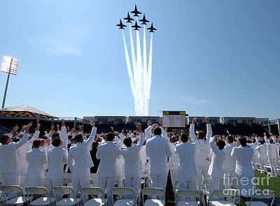 the Blue Angels fly over the USNA graduation ceremony Art Print
