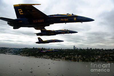 Flying Painting - The Blue Angels Flying Over Seattle by Celestial Images