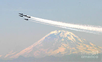 F-18 Painting - The Blue Angels Over Mount Rainier Seattle by Celestial Images
