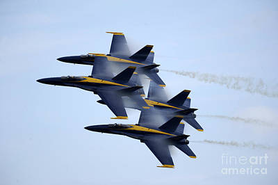 Us Navy Painting - the Blue Angels perform a Diamond 360 by Celestial Images