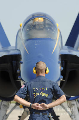 the Blue Angels waits for a signal from his pilot  Art Print by Celestial Images
