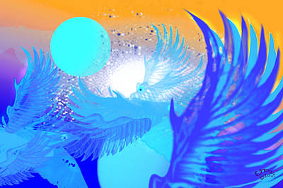 Art Print featuring the digital art The Blue Avians by Ute Posegga-Rudel