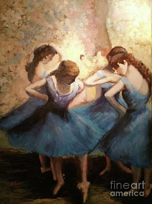Painting - The Blue Ballerinas - A Edgar Degas Artwork Adaptation by Rosario Piazza