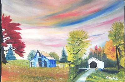 Covered Bridge Painting - The Blue Barn And Covered Bridge by Larry Idle