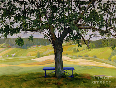 Harald Painting - The Blue Bench by Harald Sohlberg