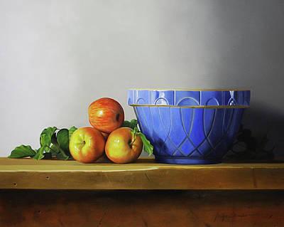 Stil Life Painting - The Blue Bowl by Jorge  Alberto Gonzalez