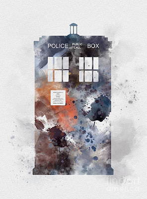 Doctor Mixed Media - The Blue Box by Rebecca Jenkins