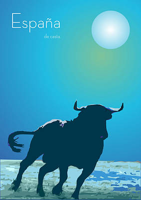 Colorful Art Digital Art - The Blue Bull  by Quim Abella