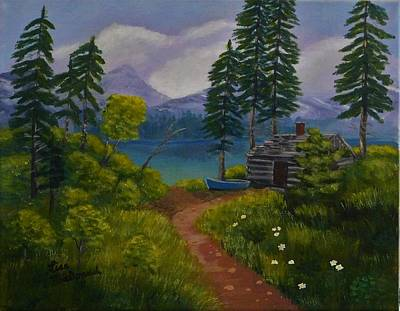 Wall Art - Painting - The Blue Canoe by Lisa MacDonald