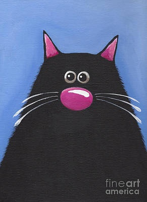Fat Cat Wall Art - Painting - The Blue Cat by Lucia Stewart