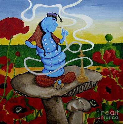 Alice In Wonderland Painting - The Blue Caterpillar by Anni Morris