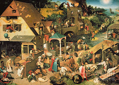 Village Scene Painting - The Blue Cloak by Pieter the Elder Bruegel
