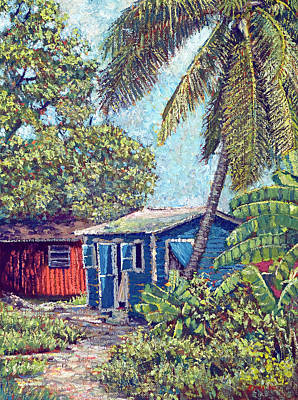 The Blue Cottage Art Print