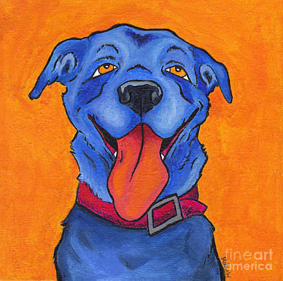 Comics Painting - The Blue Dog Of Sandestin by Robin Wiesneth