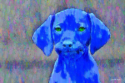 Multicolor Painting - The Blue Dog - Pa by Leonardo Digenio