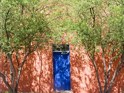 The Blue Door In Springtime Print by Elvira Butler