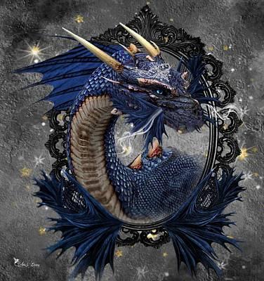 Digital Art - The Blue Dragon by Ali Oppy